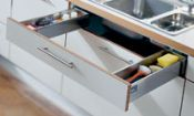 Blum. TANDEMBOX plus sink drawer, height M (83 mm), NL=450 mm. R9006 white aluminium/dust grey. 358M45SINK